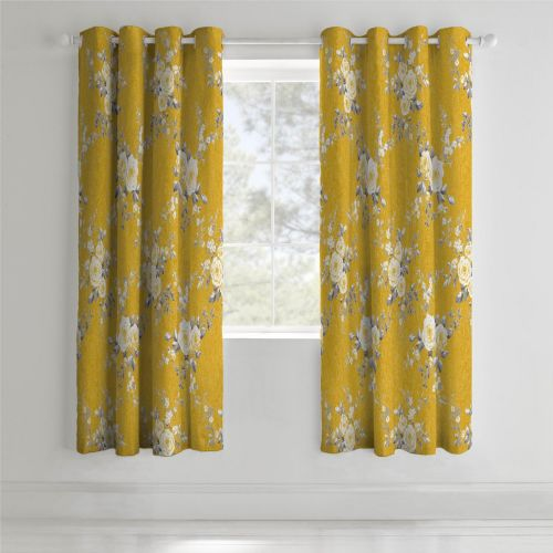 Catherine Lansfield Canterbury Ochre Eyelet Curtains
